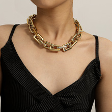 Chain Necklace Steampunk Punk-Lock Gothic Jewelry Women Twisted-Chunky Hip-Hop Statement