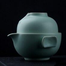 Быстрая чашка Цзиндэчжэнь китайский Селадон фарфоровый чайный набор керамический чайный набор кунг-фу включает в себя 1 горшок 1 чашка путешествия Гонг фу Чайный горшок чайная чашка