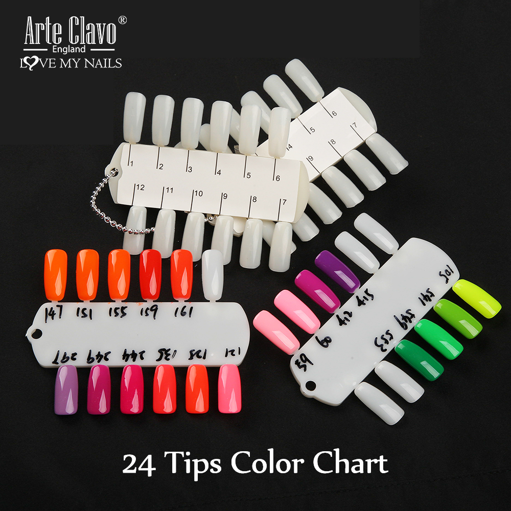 Arte Clavo Artificial False Nail Tips Chart 24Color Card Board Swatch Sample Stand Palette Manicure Nail Art Display Design Tool