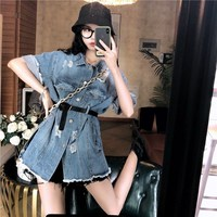 #9067 Summer Half Sleeve Blue Jeans Jackets Coats With Belt Women Korean Style Thin Denim Jacket Coat Woman Hole Casual Top Lady