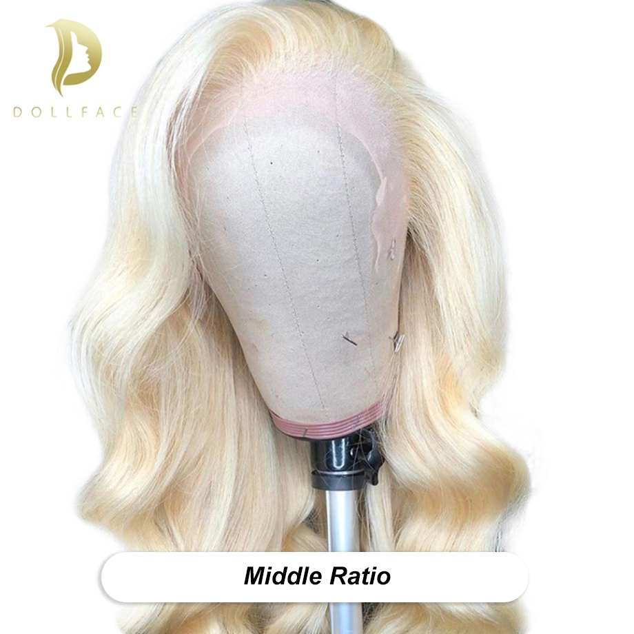 "613 Blonde Hair Lace Front Human Hair Wig Middle Ratio 8""-24"" Pre Plucked With Baby Hair Body Wave Remy Hair 130 Density 13x4"
