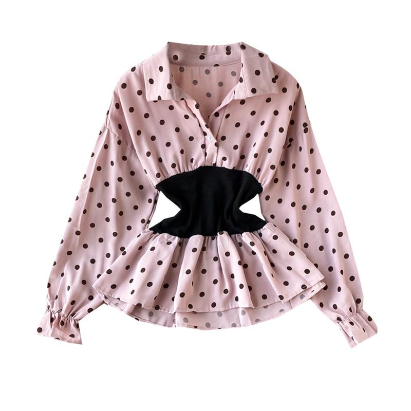 Women's Polka Dot Shirt Turn Down Collar Ruffled Shirt Spring And Autumn New Patchwork Waist Shirt Tide Women Blouses Tops ML533