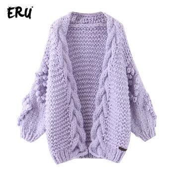 ERU lantern sleeve cardigans women winter streetwear casual v neck sweaters mujer knitted oversized vintage cardigans sweaters фото