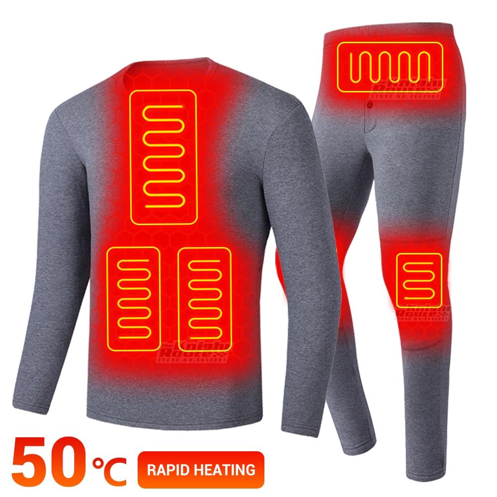 Winter Thermal Underwear Men Electric Heated Underwear Men USB Battery Powered Men's Ski Suit Fleece Thermal Heating Long Johns