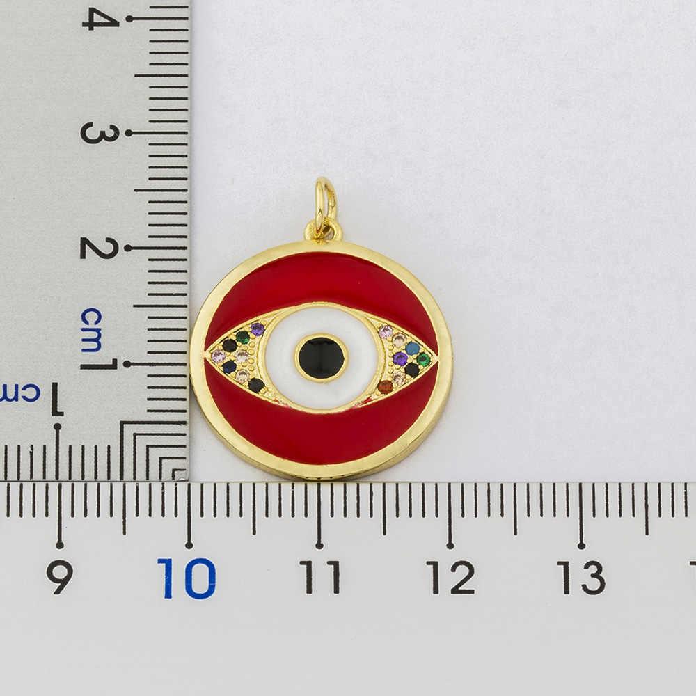 Lucky รอบ Evil Eye จี้สร้อยคอยาว CHAIN Micro Pave ทองแดง CZ สร้อยคอสร้อยคอสร้อยคอสร้อยคอสร้อยคอสร้อยคอสร้อยคอสร้อยคอสร้อยคอสร้อยข้อมือแฟชั่นเครื่องประดับสำหรับผู้หญิงหญิง