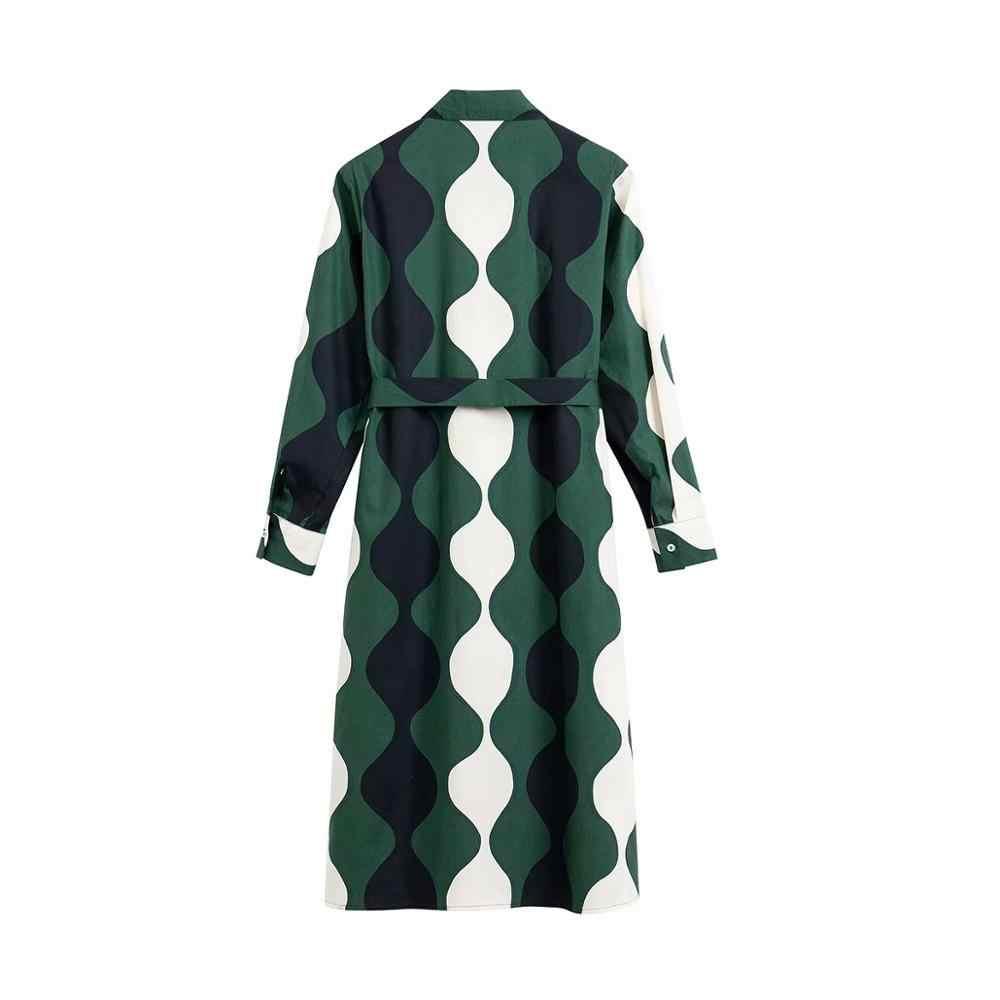 Robe chemise à manches longues, fendue sur le côté, tenue à nœud Chic, Vintage à couleurs assorties, nouvelle collection printemps 2020