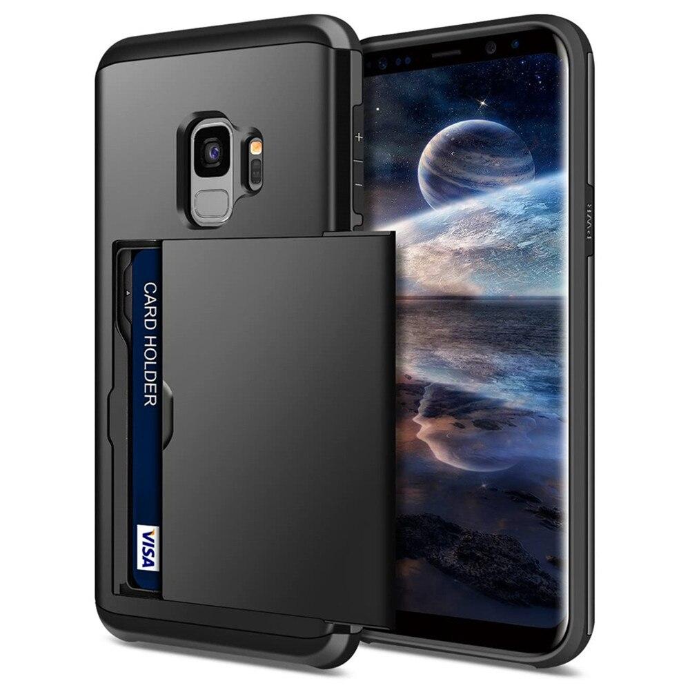 Für Samsung S9 Fall S9 Plus S8 S7 rand Fall Business Schiebe Abdeckung mit Karte Holde Telefon Fall Für Samsung galaxy S9 Plus S8 S9 +