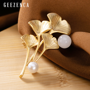 Real 925 Sterling Silver Gold-plated Ginkgo Leaf Jade Pearl Brooch Designer Trendy Elegant Brooches 2019 Newest Fine Jewelry