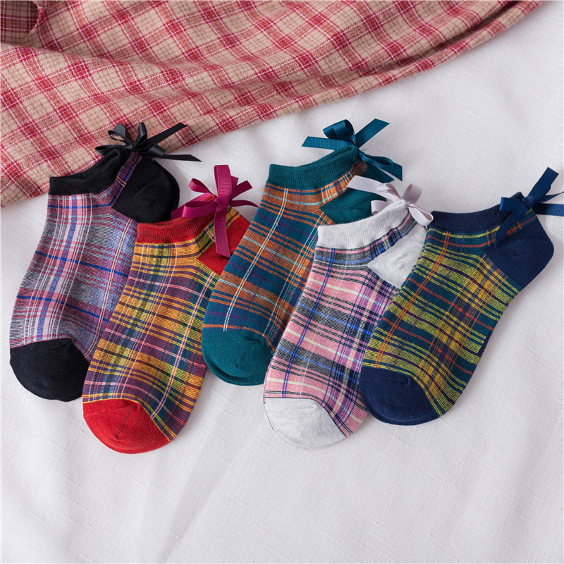 2020 New Women Bowknot Cotton Socks Female Square Lattice Plaid Socks Girl Cute Harajuku Vintage Streetwear Casual Boat Socks