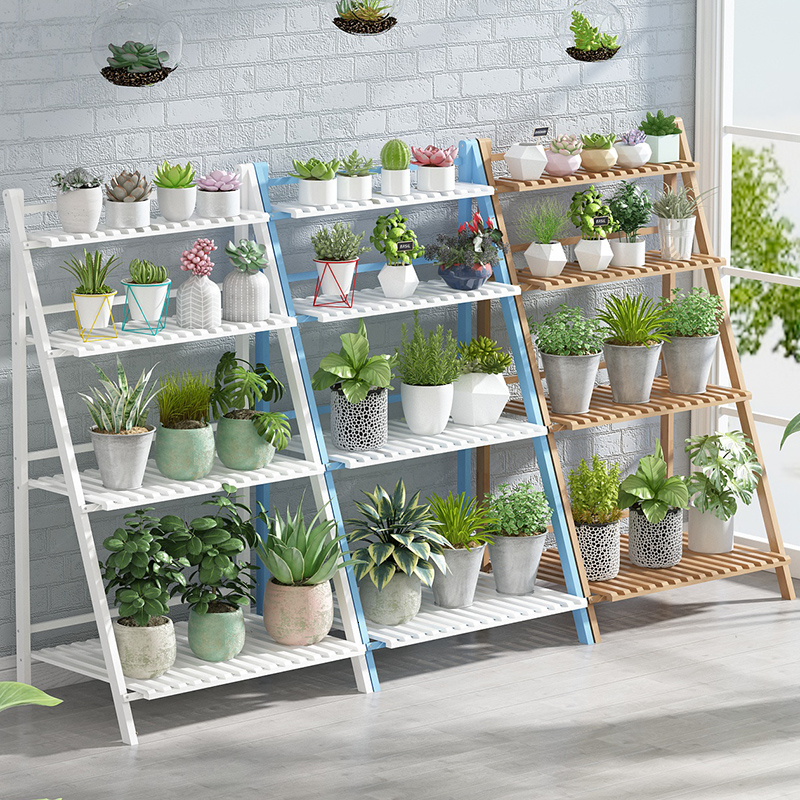 Multi-storey Indoor A Living Room Meaty Solid Wood Simplicity Bamboo Landing Type Household Balcony Shelf Flower Rack