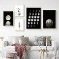 Абстрактное минималистичное черно-белое полотно настенное искусство Луна фаза Декор плакаты и принты скандинавские картины современная ж...