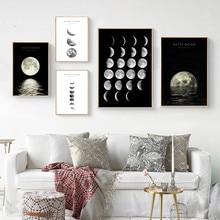 Abstracto minimalista preto e branco arte da parede da lona fase da lua decoração cartazes & cópias fotos nórdicas pintura moderna