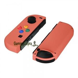 Коралловый заказной мягкий корпус сенсорного контроллера с цветными частями для ремонта кнопок для NS Switch Joy-Con