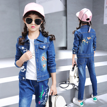 2019 Spring Autumn Kids Girls jeans Sets Children Coat+T-shirt+jeans Pants 3Pcs Denim Suit Teenage Girl Jeans Set 3184 недорого