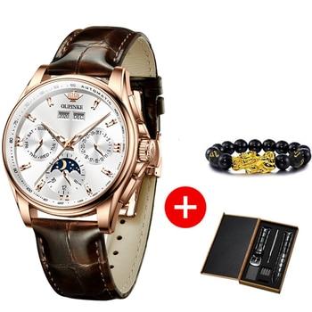 OUPINKE Men Mechanical Watch Luxury Automatic Watch Leather Sapphire Waterproof Sports Moon Phase Wristwatch Montre homme 2