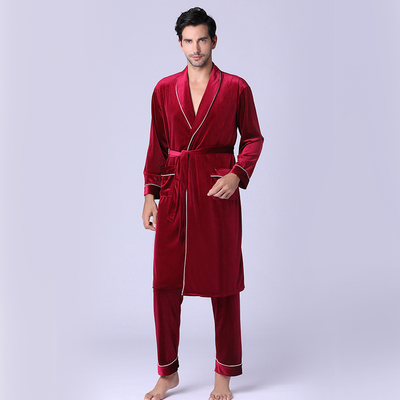 Velvet Pajamas for Men Autumn/Winter Pajamas and Trousers for Homewear Two Sets Pajamas for Men   Pants  Robe Sets for Men