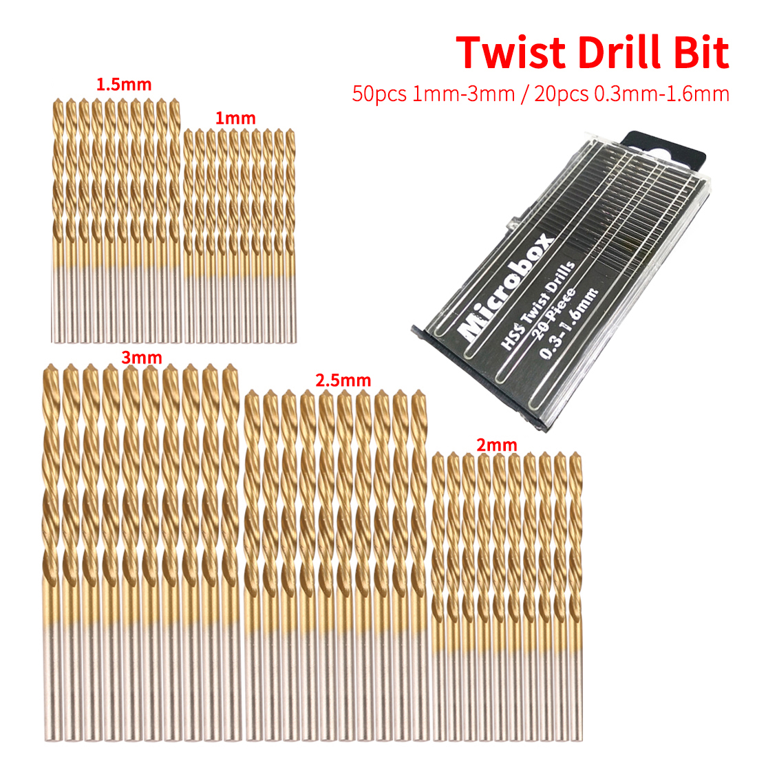 Woodworking Tools 50pcs 1/1.5/2/2.5/3mm Titanium Coated HSS Twist Drill Bit Set Tool Twist Drill Bit For Plastic Metal Wood