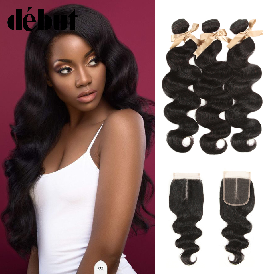 Debut 3 Bundles Brazilian Body Wave Bundles With Closure 4*4 Non-Remy 3Pcs/Lot Human Hair Weave Bundles With Lace Closure