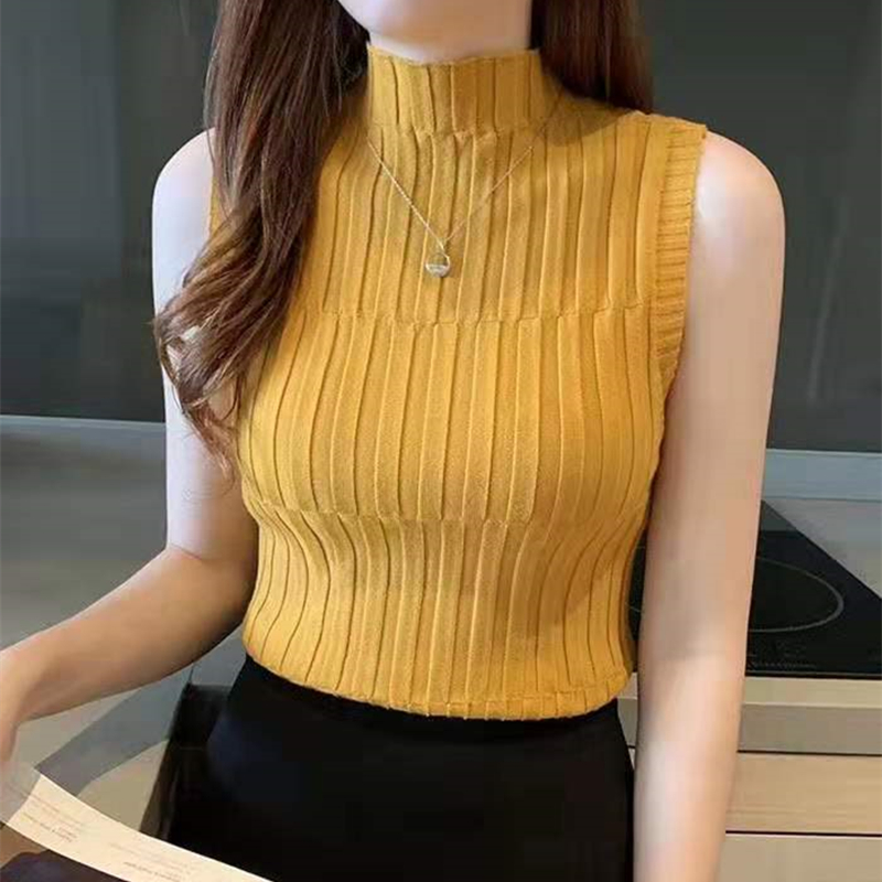 HELIAR Women Black Knitted Tank Tops Female Solid Sleeveless Tees O-Neck Slim Crop Top Female Casual Tank Tops For Women Summer 5