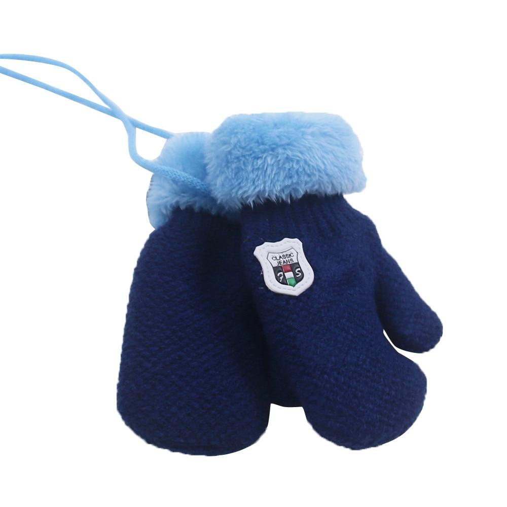 Милые кашемировые перчатки для мальчиков и девочек, зимние теплые тянущиеся вязаные варежки из толстого плюша с искусственным мехом, guantes luvas de inverno, новинка - Цвет: Blue