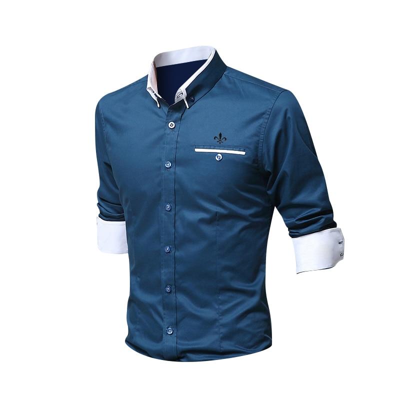 Модная рубашка с карманами, мужская рубашка с длинным рукавом, приталенная рубашка с цветочным принтом, белый мужской пуловер