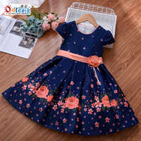 Outong 9 Year Kids Dress Design Waist Applique Short Sleeve Flower Print Dresses For 6 to 9 Years Casual Flower Girl Dresses