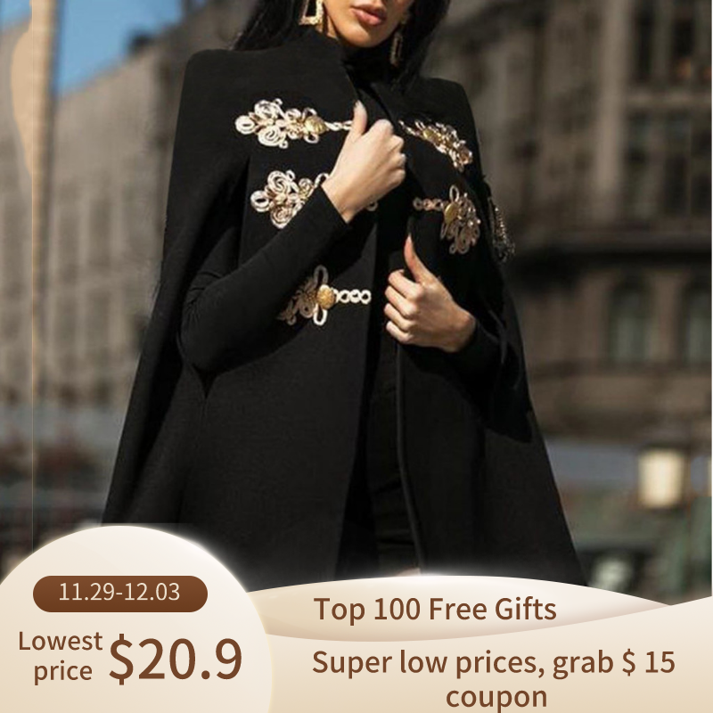 Winter Mantel Wol Vrouwen Middeleeuwse Retro Gothic Black Capes Sjaal Jas Poncho Mujer Invierno Elegantes Cape Poncho Vrouwen