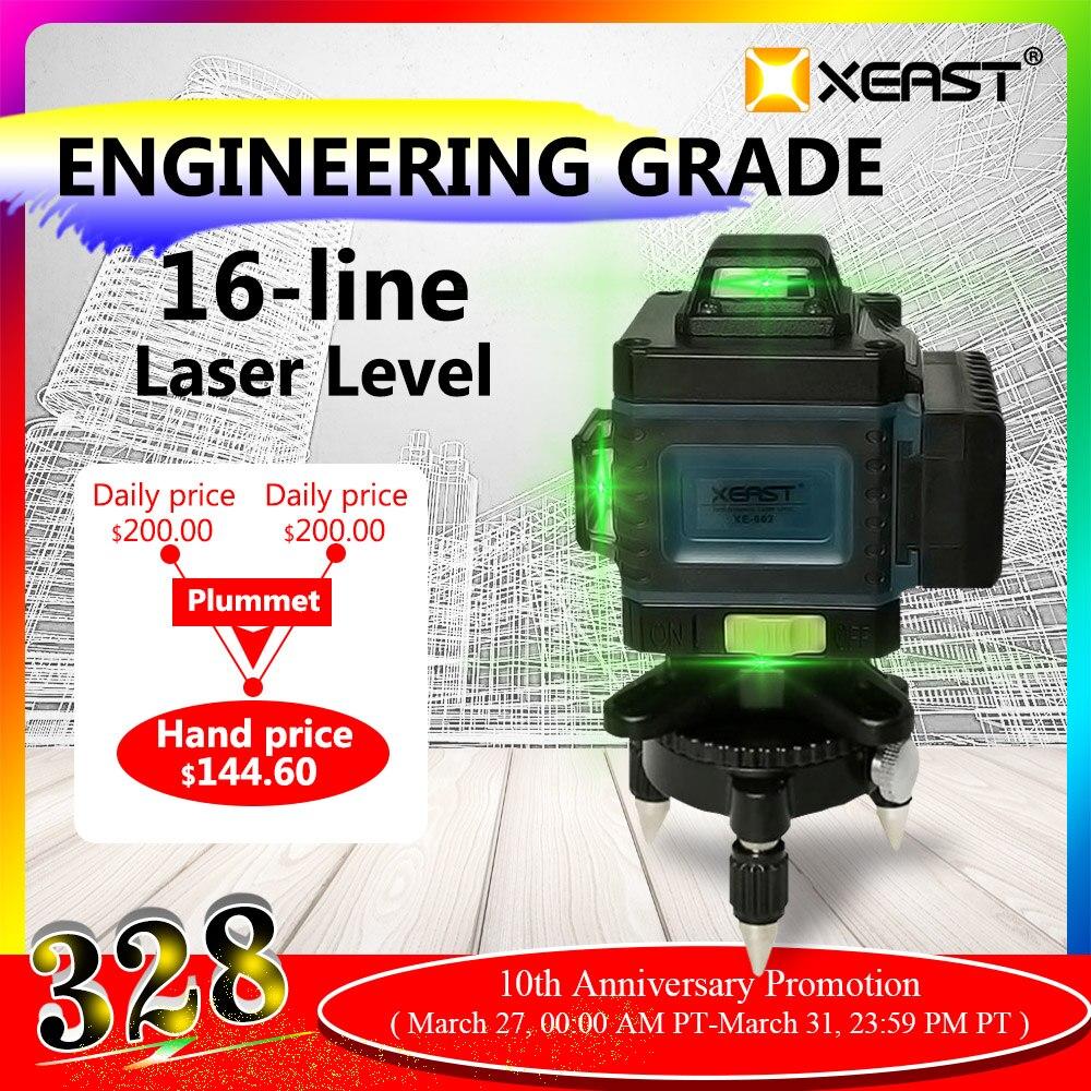 XEAST pilot 3/4D high precision green beam 12/16 linie poziom światło podczerwone automatyczna linia przyklejana na ścianę naklejki