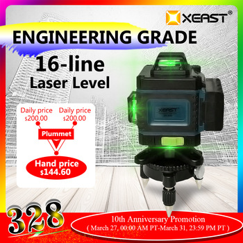XEAST Remote control 3/4D high precision green beam 12/16 lines level  infrared light automatic line stick wall stickers