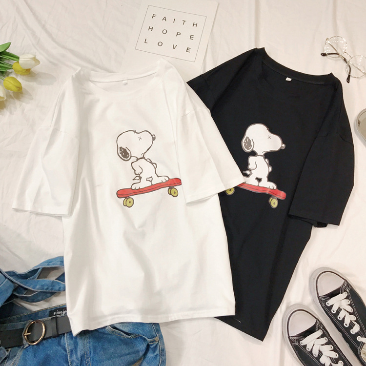 2020 Summer Women Tshirt Short Sleeve T-shirt Cartoon Animal Dog Sport Skateboard Non-mainstream Personalise Women Men Shirts