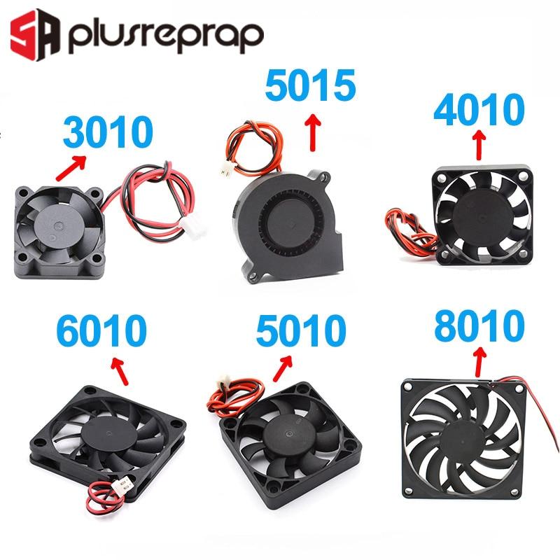5015/4010/3010/5010/6010/8010 12V 24V Cooling Turbo Fan Brushless DC Cooler Blower 2-Wire Black Plastic For 3D Printer