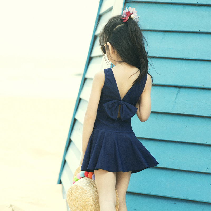 Girls Hot Springs Bathing Suit Bow Conservative KID'S Swimwear South Korea Solid Color Skirt Big Kid One-piece Swimwear