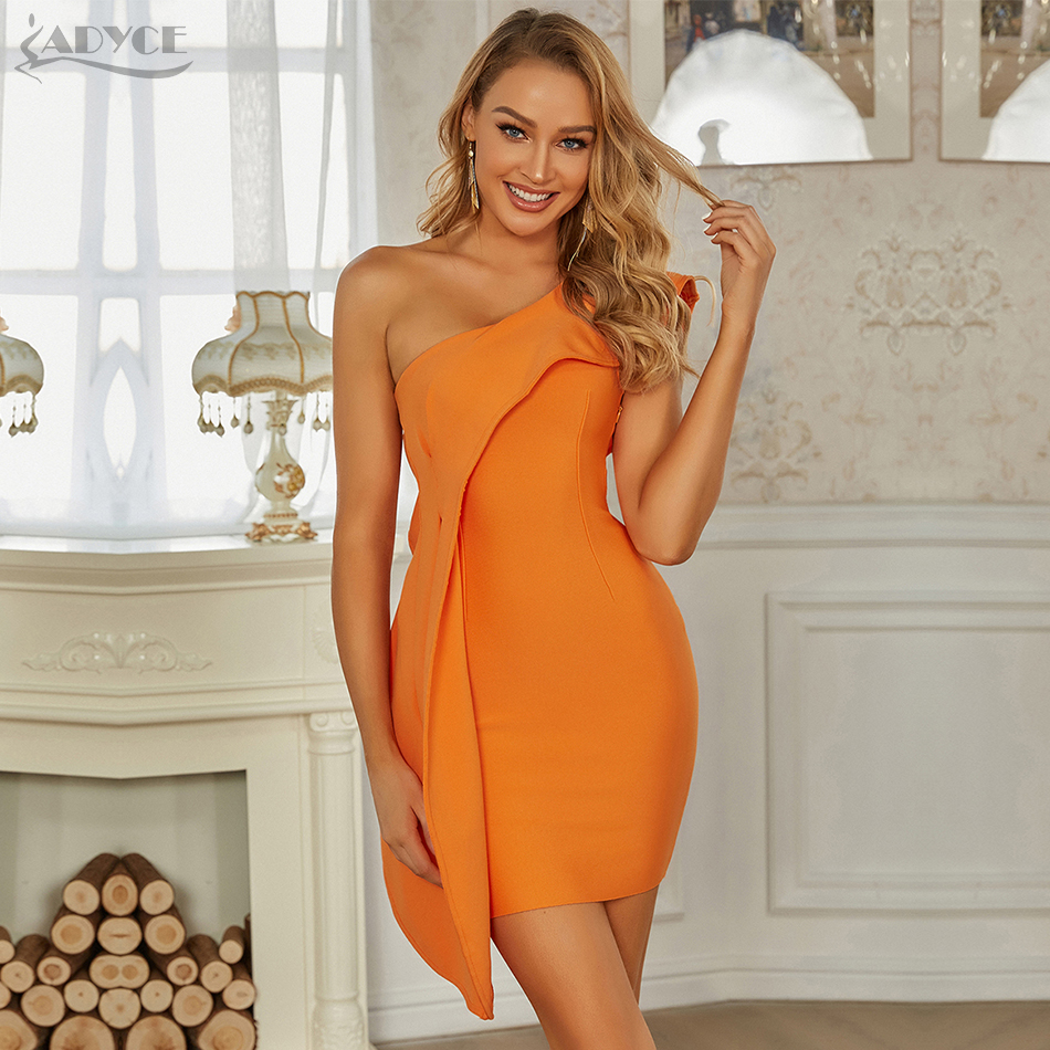 Adyce-vestido Bandage de un hombro con volantes para mujer, vestido Bandage naranja envolvente para mujer, Sexy vestido sin mangas para fiesta de noche y discoteca 2021