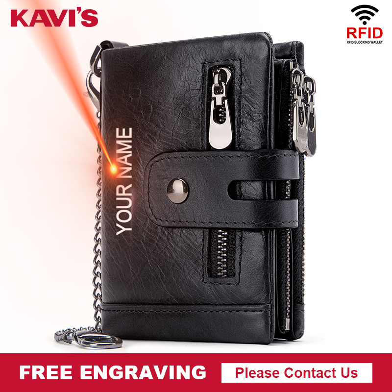 KAVIS Free Engraving Rfid Genuine Leather Wallet Men Coin Purse Male Cuzdan PORTFOLIO MAN Portomonee Black Small Walet Pocket