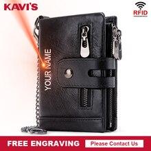 KAVIS Free Engraving Rfid Genuine Leather Wallet Men Coin Purse Male Cuzdan PORTFOLIO MAN Portomonee Black Small Walet Pocket