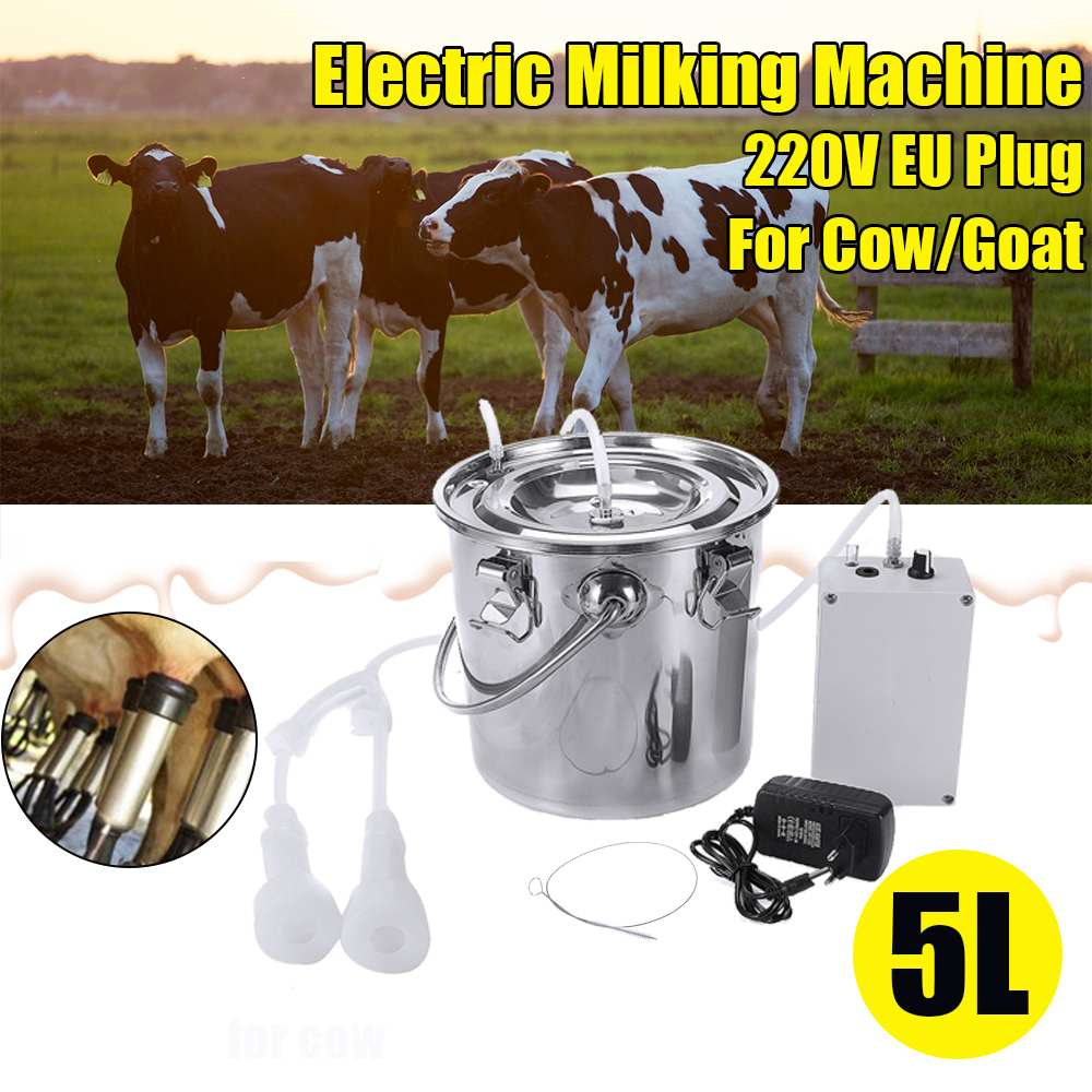 5L Cow Goat Sheep Milker Stainless Steel Electric Milking Machine Stainless Steel Bucket Suction Vacuum Pump Household Milker