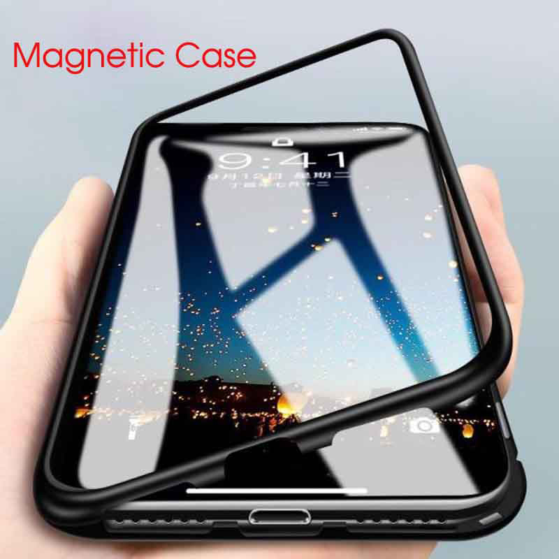 Metal-Case Cover Tempered-Glass Magnetic Adsorption Oneplus 6t for 7 6-5t
