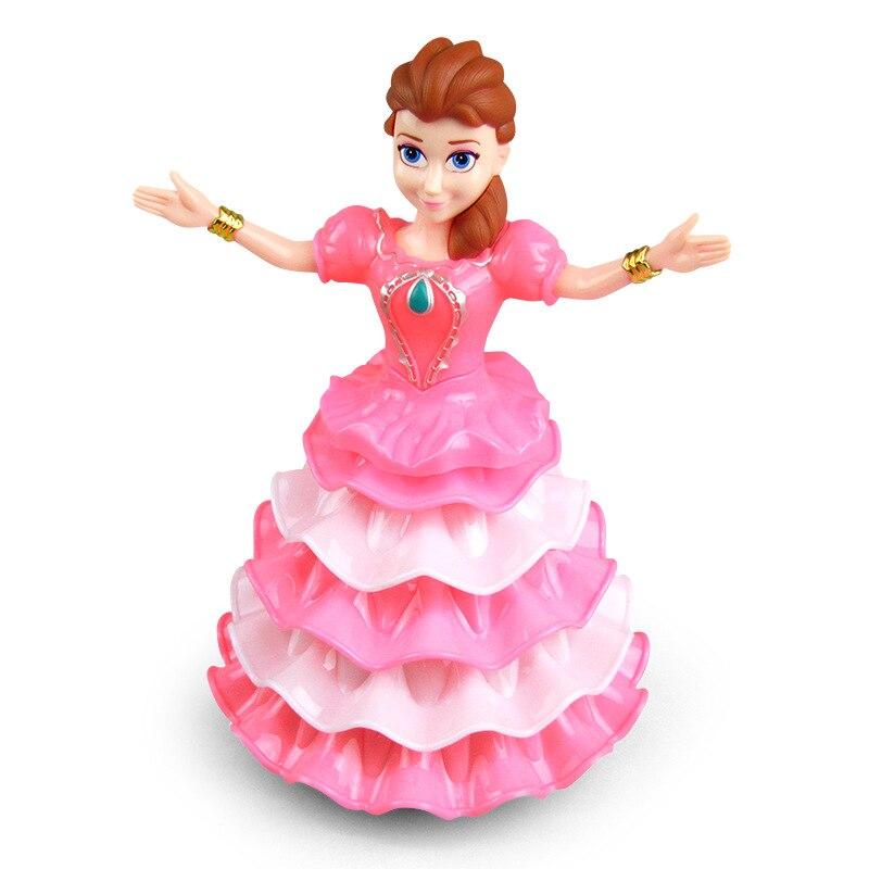 Dancing Princess Light Music Electric Universal Dancing Robot Dancer Rotating Princess Toy For Girl
