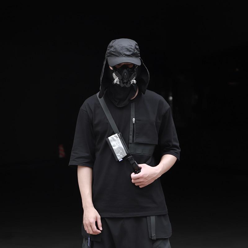 WHYWORKS T-shirt molle panneau chemise techwear style chemise avant-garde mode punk streetwear chemise