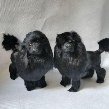 lifelike toy poodle hard model polyethylene&furs 24x20cm black poodles one pair model home decoration props ,Xmas gift h0169