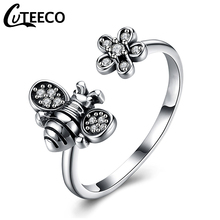 Cuteeco Hight Quality Silver Color Lovely Bee Adjustable Ring For Women Original Pan Finger Ring Jewelry Engagement  Gift cuteeco hight quality silver color 22 styles stackable pan finger ring for women original ring engagement jewelry gifts
