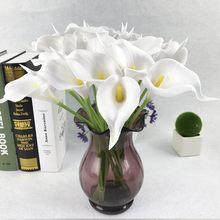 Bouquet de fleurs artificielles en PU, 10 pièces/lot, fausses Calla Lily, toucher réel, décoration de Table, de mariage, de maison, de fête