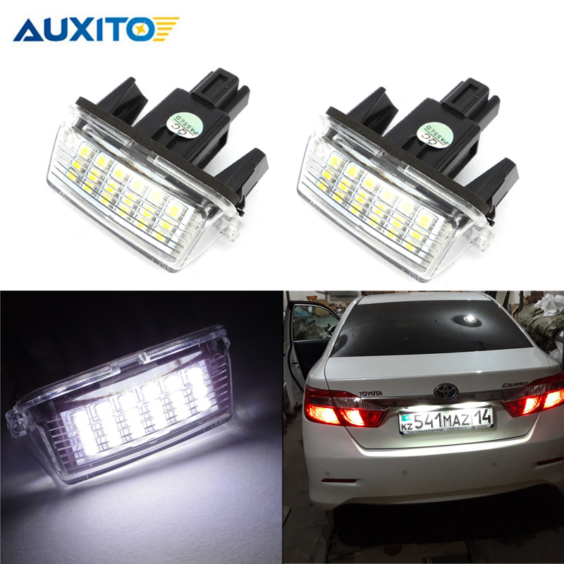 2x Car License Plate Lamps LED Custom License Plate Lights For Toyota Yaris 2012-2014 For Camry 2013-2014 For Auris 2009 - 2010