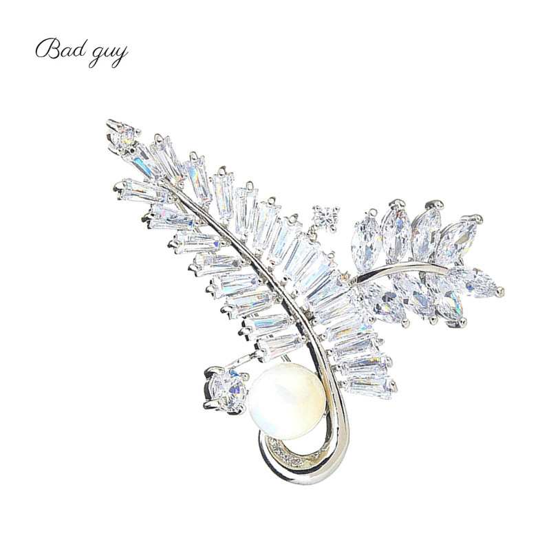 Gold And Sliver Brooch Pin for Women's Zicon Leaves Jewelry Pearl Brooches Clothes Scarf Buckle Garment Accessories Jewelry Pins-0