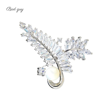 Gold And Sliver Brooch Pin for Women's Zicon Leaves Jewelry Pearl Brooches Clothes Scarf Buckle Garment Accessories Jewelry Pins
