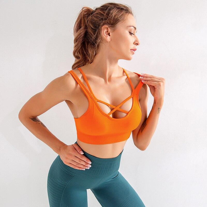 Workout High Impact Sports Bra Women Yoga Top Sport Shirt Gym Crop Top Fitness Bra Tops Sports Padded Push Up Bra Seamless Top