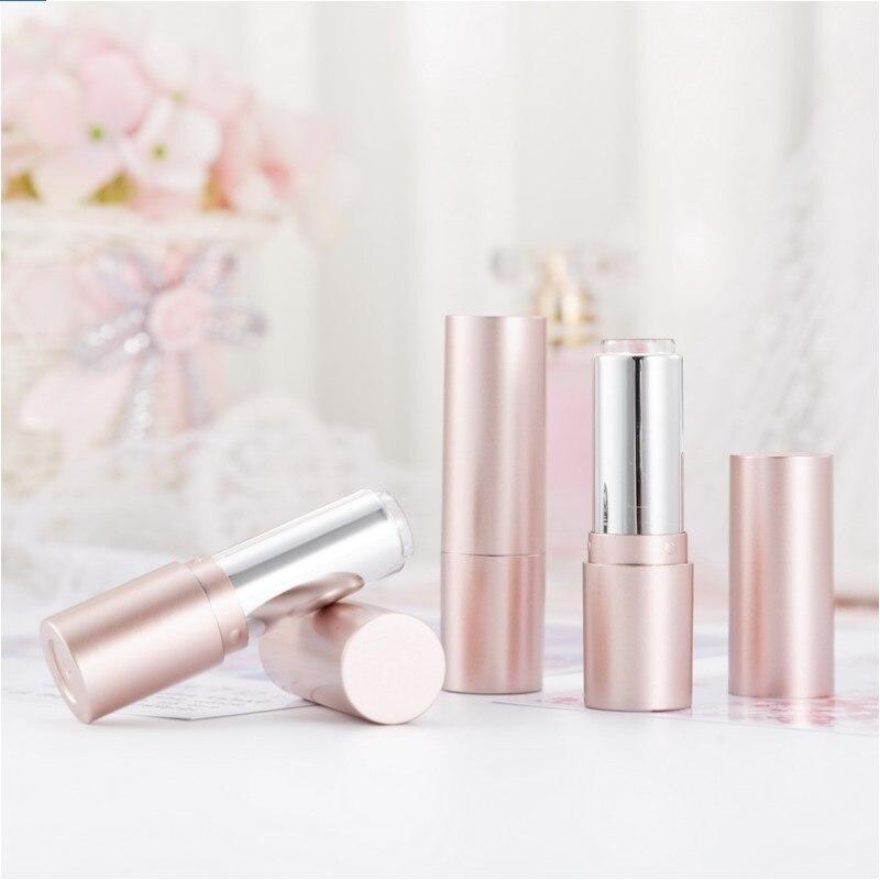 Tube de rouge à lèvres | Vide en plastique, or Rose mat, tube de baume à lèvres, conteneur d'emballage cosmétique 12.1mm
