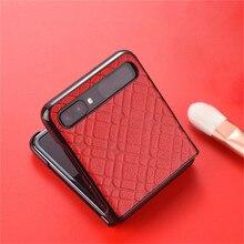 Miękki skórzany futerał na telefon do Samsung Galaxy Z Flip akcesoria do telefonów komórkowych f7000 składany futerał ochronny na ekran