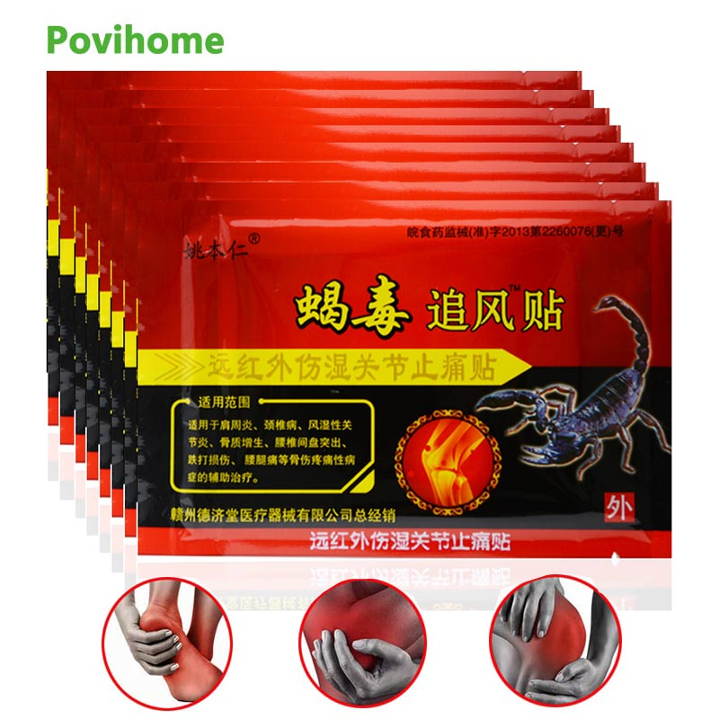 64Pcs Capsicum Medical Plasters Scorpion Venom Pain Relief Patches Joints Adhesive Stickers Arthritis Orthopedic D1812