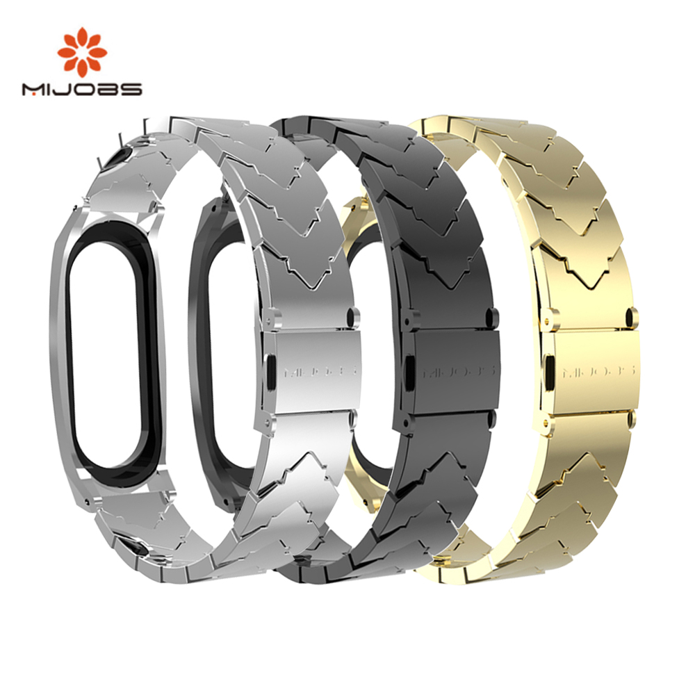 Mijobs Mi Band 4 Strap Metal For Xiaomi Mi Band 4 3 Smart Wristband Fashion Stainless Steel Bracelet For Miband 4 3 Accessories